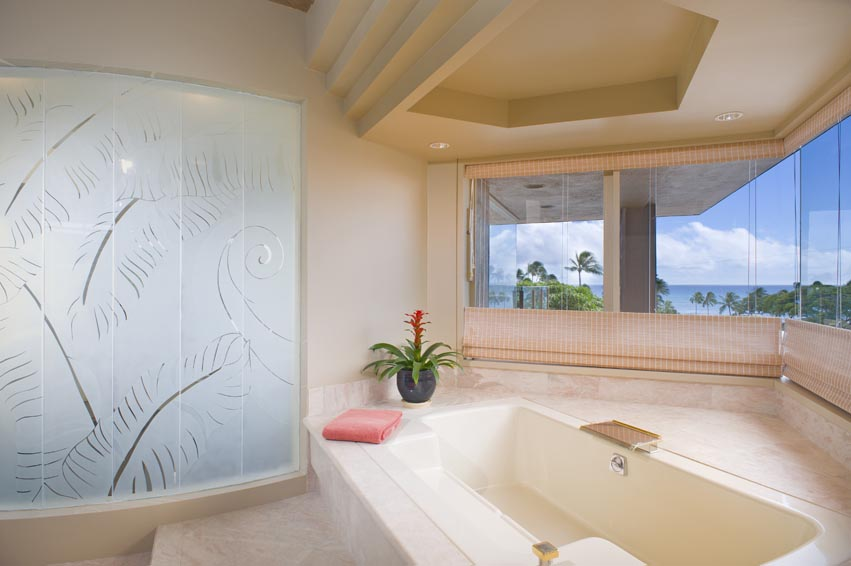 Master Bathroom looks out at ocean