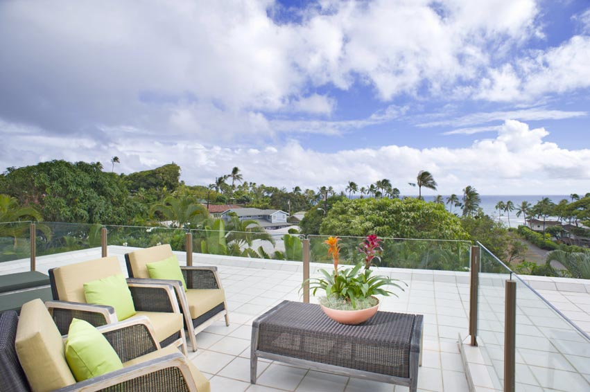 Lanai with ocean views off of Master Bedroom